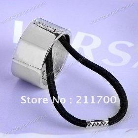 Silvery Metallic Mirror Hair Tie Cuff Wrap Hinged Ponytail Holder Ring Girl New