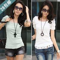 28 2012 puff sleeve slim top summer women's short-sleeve T-shirt female plus size