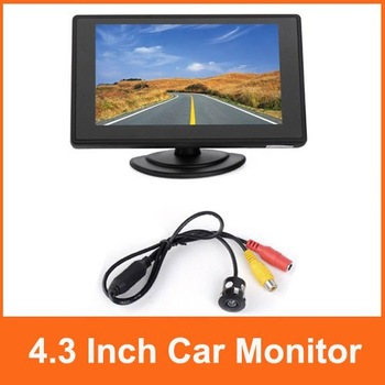 "4.3"" TFT LCD Color Car Monitor Car Rear View Camera Kit Free Shipping"