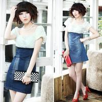 Летом новый Европейский стиль женщины все матч тонкой джинсовой одежды, классический джинсовый синий, большого размера, высокое качество