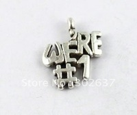 60 Tibetan silver the word WERE#1 charms A8499