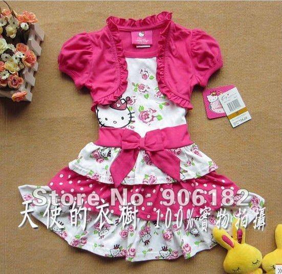 Wholesale 5PCS/LOT Hello Kitty Dress girls dress pink dress baby dress kids clothes children wear baby clothing size 3T-6X(China (Mainland))