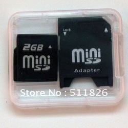 Free Shipping 2GB 2G mini SD Memory card + miniSD to SD adapter 8051(China (Mainland))