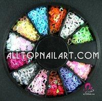 150 Wheels Nail Art Glitter Decoration Hollow Heart Shape 12 Colors -DHL FREE SHIPPING