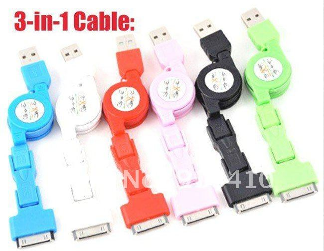 100pcs/lot free dhl/fedex/ems 8colors 3in1 Retractable USB 2.0 Data Cable for Iphone/ Nokia with micro 5 Pin, Mini 5 Pin(Hong Kong)