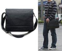 "Free shipping New Men Genuine Nappa leather Black Satchel Shoulder Messenger 13.1"" Laptop Bags 1036"