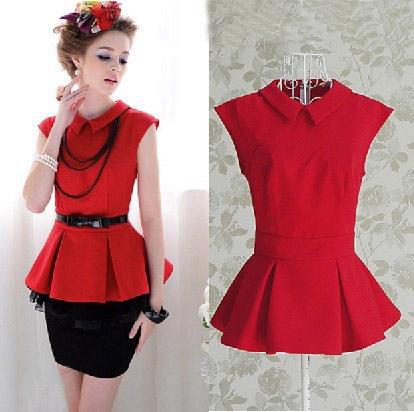 women-s-dress-Blouses-Shirts-chiffon-ruffles-patchwork-Rose-red ...