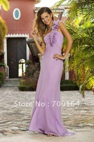 Free Shipping Elegant One Shoulder Purple Lavender A-line Mermaid Bridesmaid Dresses FB123