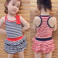 Girls baby striped section of the 2012 Summer Korean version of the new bow dress and qz - 0313
