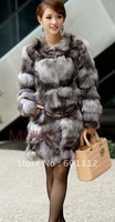 fashion style Genu rabbit fur coat & BIG R*accoon collar womens fur clothes ladies fur garment EMS free shippjng LT02