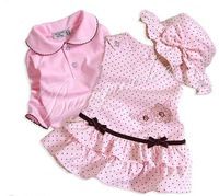 babies one set=baby dresses+T-shirt+hat , promotion sell, High quality+CPAM free shipping