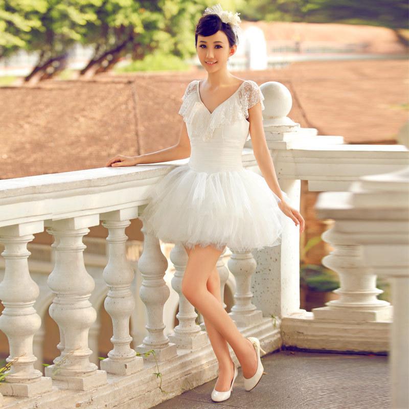 formal dress fluffy short skirt v neck wedding dress bridesmaid dress