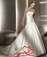 NEW Style Free shipping Tube Dress floor-length chapel Empair train Bright Satin  Diamond Wedding dress#1EA0090