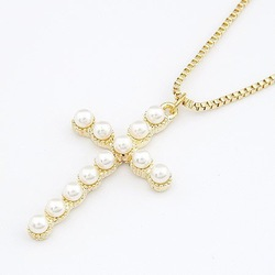 Min.order is $10 (mix order) N164 Fashion style! Gold Pearls Cross Necklace ! Free Shipping---cRYSTAL sHOP(China (Mainland))