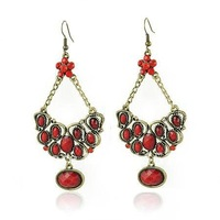 European style retro earrings imitation gemstones earrings