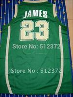 Free Shipping!!! #23 Lebron James Irish high School green jersey