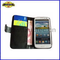 IN STOCK,100pcs/lot, Black color with Black stiching ,Wallet Leather Case for Samsung Galaxy S3 i9300--DHL Free shipping
