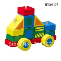 Wooden baby education used colorful build blocks police car engineering vehicle DIY toy#2035