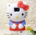 Lovely Cute 3D Hello kitty Soft Silicone Case Cover Skin For Samsung Galaxy i9100 S2+Free Shipping