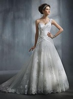 White One Shoulder Applique Wedding Dresses Bride Clothes Peng Dresses Trailing Prom Gown Custom Made Differet Style