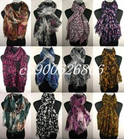 FREE SHIPPING, Lot 30pcs voile grid cotton scarf scarves shawl,fashion snood,fashion ladies shawl
