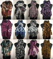 FREE SHIPPING, Lot 30pcs voile grid cotton scarf scarves shawl,fashion snood,fashion ladies shawl