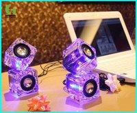 10pcs/LOT Fashionable transparent Usb crystal Mini Speaker for IPod,MP3,MP4,PC+Freeshipping(DHL)