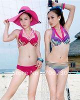 (10pcs/lot)Free Shipping 2012 Wholesale Crazy Hot Hyun Stripes Bikini Suit Piece Pants Swimsuit,Ladies'/Women Sexy Bikini Set