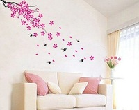 Beautiful Sping flowers with Cute birds 70*50cm wall decor Wall Sticker 2 SETS, Roll Tube Packing