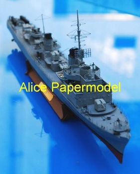[Alice papermodel] Long 70CM 1:150 World War II German T-22 Elbing destroyers battleship military models