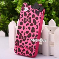 Cute Leopard Hello Kitty Bow TPU Case For iPhone 4 4G 4S.