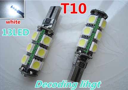 T10 13led free error clearance lights, super brightness white for the detection system car(China (Mainland))