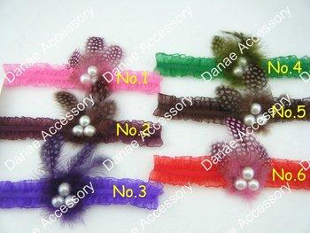 ORGANZA  Ruffle skinny-elastic-lace headbands headband,Interchangeable Stretch Headband with feathers and pearl