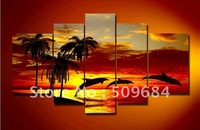 hand-painted oil wall art Sunrise beach dolphins home decoration abstract Landscape oil painting on canvas 5pcs/set