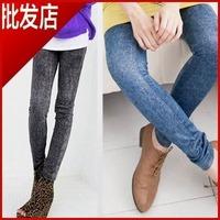 Женские джинсовые штаны и Шорты DDK-005 Faux Denim Patch Legging Thin Beggar Pants Plus Size Ankle Length Trousers Black Blue, Fast