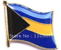 350pcs/lot  Free shipping Bahamas  iron flag country lable pin gold brass polished design metal badge