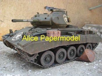 [Alice papermodel] Long 30CM 1:18 World War II US Army M24 Chaffee tank car models