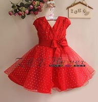 Free Shipping (6 pcs/lot) New 2014 Eudora Red Girl dress with Bow Sizes: 3 #/4# /6#/ 8#/ 10 #/12# (3T-8T)