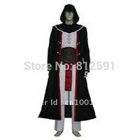 Free Shipping Assassin's Creed Black Cotton Costume  XXS-4XL