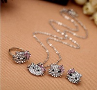 EVFGSP (13) 2012 new arrive crystal hello kitty earring rings necklace set hello kitty jewelry set costume jewellery