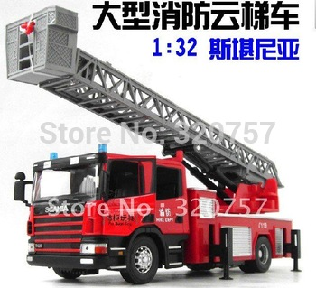New Children's Gifts-1:32 scania Aerial Ladder Truck Children Toy Car Toy Alloy Model Car/2 model