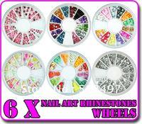 6 PCS Wheel Mixed Nail Art Tips Decoration Rhinestone Fruit Dust Sheet Various Shapes Free Shipping