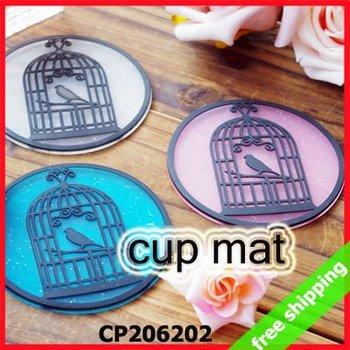 FREE SHIPPING Cup Pad Mug Mat Coaster birdcage Design Silicon Soft Pvc Waterproof Promotion Gift Say Hi 12PCS/LOT CP 206202