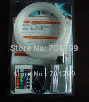 200pcs 0.75mm*2m PMMA optical fiber kit with 3W RGB light engine,IR 24key remote