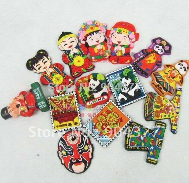 Estilos mix barato Cultura Chinesa personalizado borracha Frigorífico Craft Sticker 10 peças lote Frete grátis /(China (Mainland))