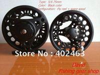 Fishing Fly Reels 5/6 75mm Black Aluminum Die Casting 2 Precision bearing+One-way bear set (set=1pcs reel+1pcs spare spools )