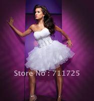 Beautiful Fashion Strapless Beading Ruffles Tiered Flouncing Fluffy Sweetheart White Organza And Satin Mini Short Cocktail Dress