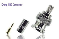 100pcs/LOT CCTV installers BNC Crimp On Connector adapter for RG6 CCTV Cable