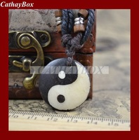 Wholesale lot 10PCS Vintage Look Tibetan Ox Bone Taoism Tai Chi Yin Yang Round Pendant Necklace
