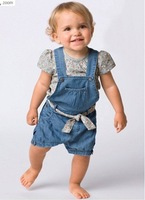 Baby's girl fashion sets suit clothing flower tshirt+Suspenders+short jeans pants+belt baby wear clothing blue free shipping